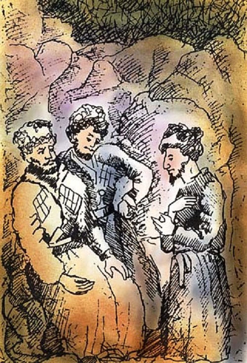 Illustration by artist Anatoly Konenko, from the miniature book of poems by Mikhail Lermontov
