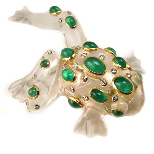 Circa 1970. Schepps 18K Gold, Rock Crystal, Emerald & Diamond Clip