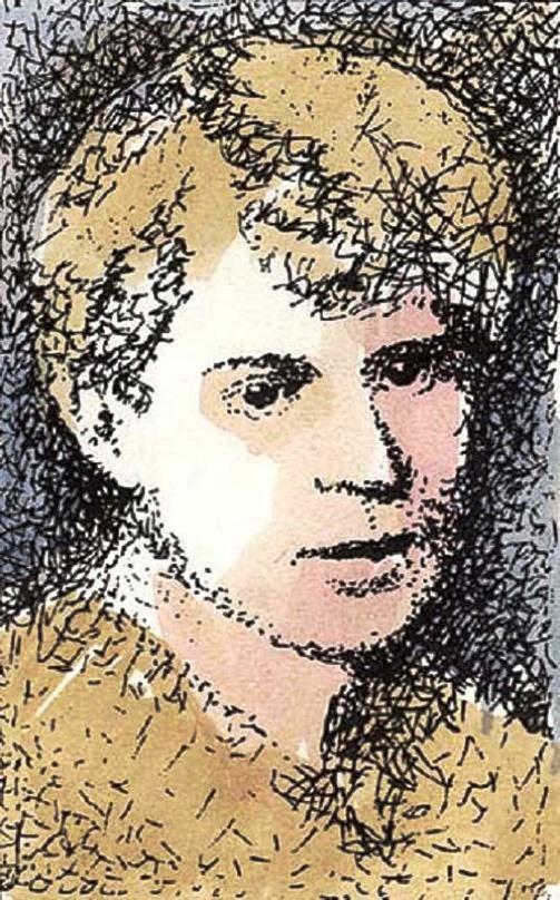 Sergei Yesenin, illustration from the miniature book, artist Anatoly Konenko