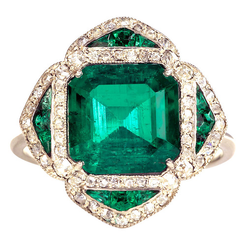 Colombian Emerald Ring. French circa 1910. Colombian emerald (approx. 3.2 cts) and diamond ring, in platinum. Price $145,000