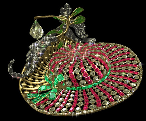 Hat of doll Pandora. Diamonds, emeralds, rubies, gold, silver, enamel 8 x 6.5 x 4 cm, 1770s.