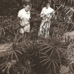 Yves Saint Laurent and Pierre Berge in the garden