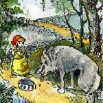 Little Red Riding Hood, illustration from the miniature book 'Brothers Grimm', artist Anatoly Konenko