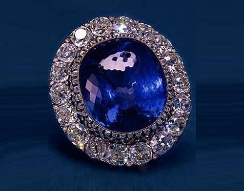 """Brooch """"Ceylon Sapphire"""". Diamonds, Ceylon sapphire. middle of XIX."""