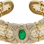 Emerald, Diamond, Cultured Pearl, Gold Necklace