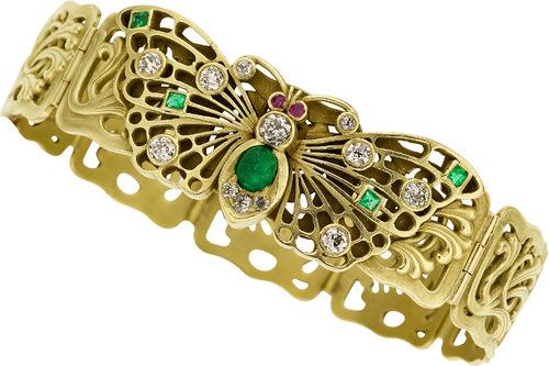 Art Nouveau Diamond, Emerald, Ruby, Gold Bracelet, Lebolt & Co