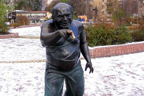 The monument to a famous Russian actor, comic, Evgeny Leonov. His finger is worth touching for good luck