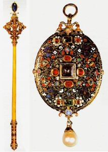 Austrian imperial scepter, Andreas ozenbruk, 1612, gold, diamonds, rubies (left). Locket containing a miniature of the mid-17th century, gold, diamonds, enamel and precious stones. United Kingdom