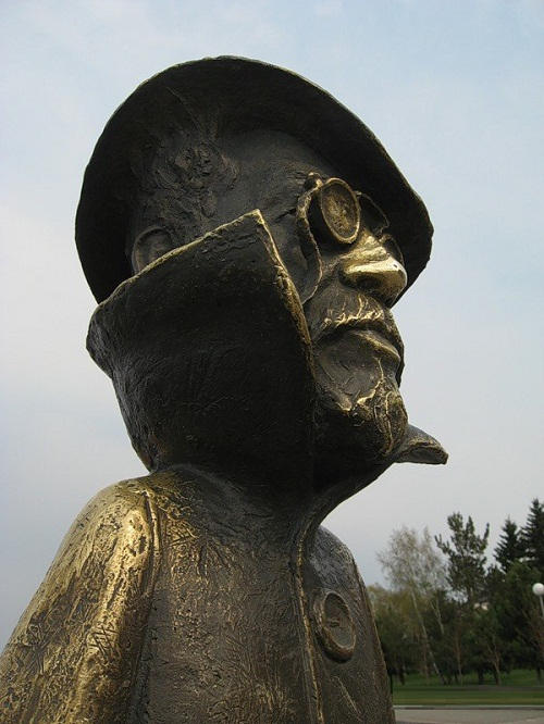 Monument to a great Russian writer Anton Chekhov, its nose is rubbed for good luck