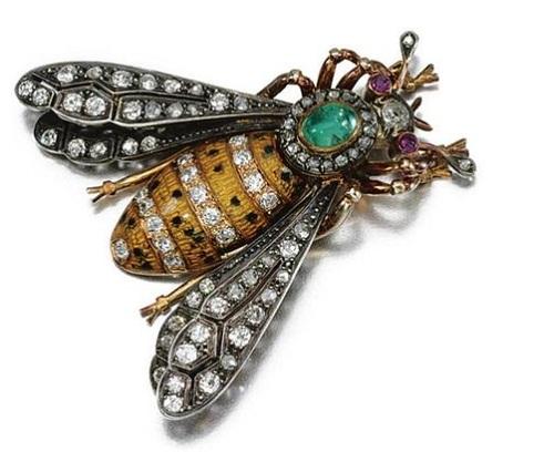 Gem-set, enamel and diamond brooch, early 20th century