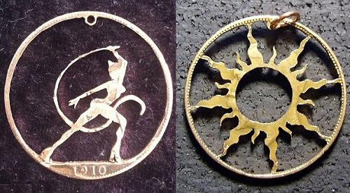 Carving on coins as jewelry art