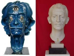 The Salvador Dali bust by Karolin Donst (right) featuring the surrealistic painter at the age of about 42
