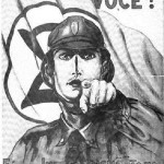 """A 1937 Integralist propaganda poster that imitates the Lord Kitchener poster. The caption reads """"Brazil needs you! Outside Integralism, there is no Nationalism"""""""