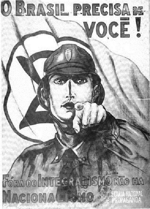 "A 1937 Integralist propaganda poster that imitates the Lord Kitchener poster. The caption reads ""Brazil needs you! Outside Integralism, there is no Nationalism"""