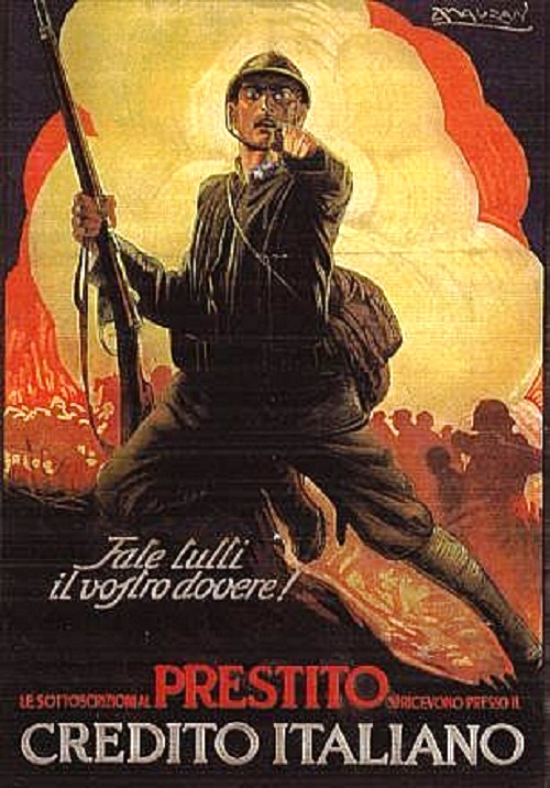 "Italian poster of 1917 ""Do your Whole Duty!"", or ""Fate Tutti il Vostro Dovere!"" by Achille Luciano Mauzan"