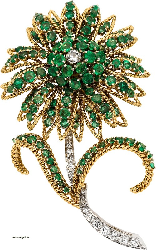 Emerald, Diamond, Platinum, Gold Brooch