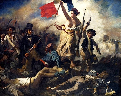 "French painting ""Liberty Leading the People"" (Eugene Delacroix, 1830), in which the author depicted the national symbol of France - Marianne"