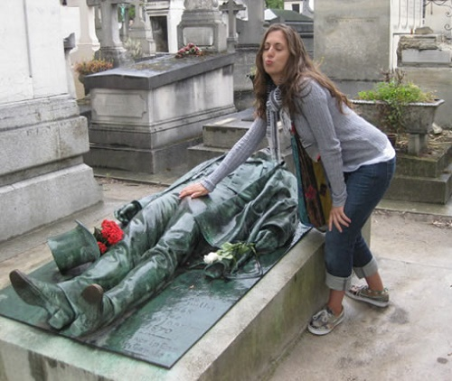 Monuments people rub and kiss. The tomb of French journalist Victor Noir (1848-1870) in the Pere Lachaise Cemetery in Paris