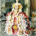 Nina Vatolina in a theatrical dress, painting by Max Birstein, her husband, 1946