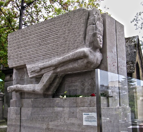 Oscar Wilde tomb in Paris, at the Pere Lachaise cemetery