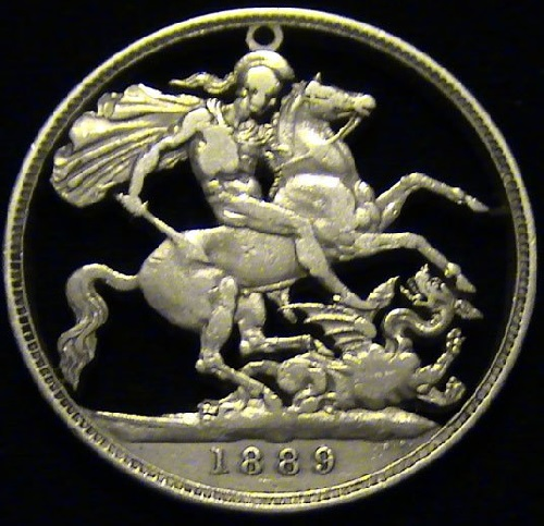 Sterling Silver Crown – Great Britain, 1889. Carving on coins as jewelry art