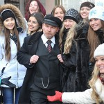 The participants of beauty pageant and Lenin double