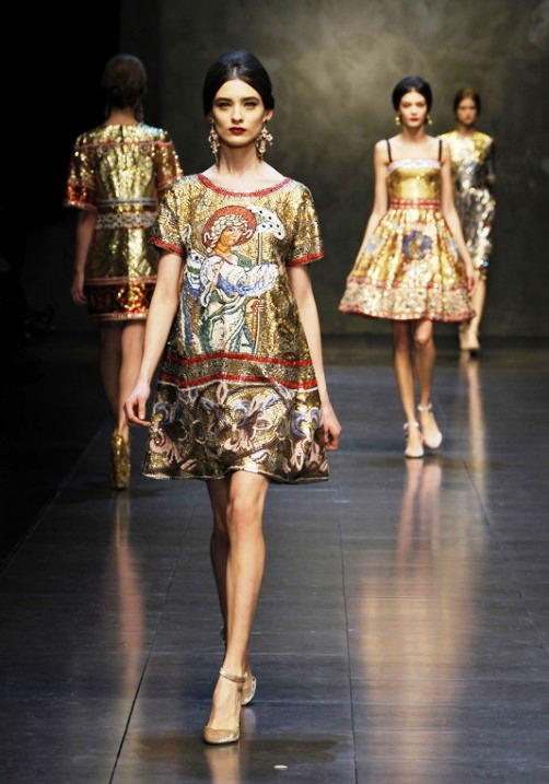 Religious theme in a mosaic collection of Dolce & Gabbana Fall / Winter 2014