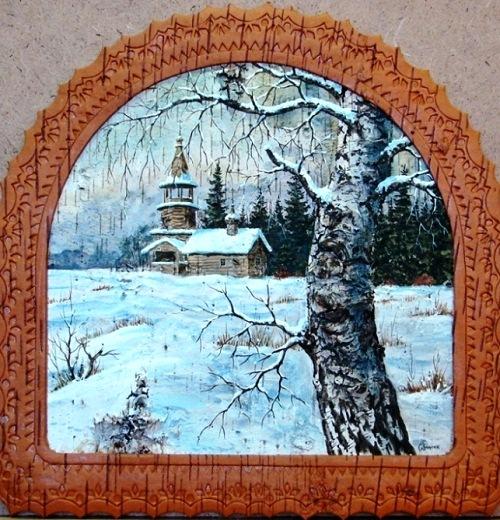 Painting on birch bark by Russian artist of applied art Sergei Zinin