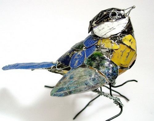 Beautiful birds - recycled art by Barbara Franc