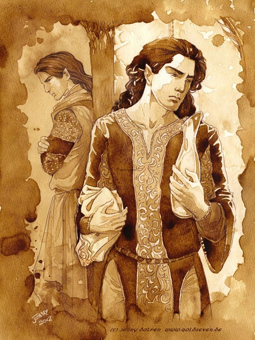 Fingon, who lacks a dark side. Painted with Jacobs instant espresso on Hahnemuhle Torchon paper