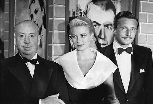 Alfred Hitchcock, Grace Kelly, Oleg Cassini, Premiere of Rear Window, 1954