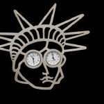 """Eye in the form of dials on brooches signaled the need to adhere to the exact rules during meetings. Brooch """"Freedom"""", the designer Gus Bakker, Netherlands, 1997"""