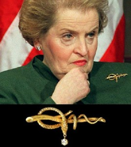 "Brooch ""The Snake"" - Madeleine Albright wore snake pin during her next meeting with Iraqi officials"