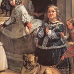 "Infanta Margarita, dressed in white, is in the center of the composition, surrounded by her ladies in waiting, ""Las Meninas"" - Maria Augustina de Sarmiento and Isabel de Velasco, two court jesters - Mary Barboly and Nikolasito Pertusato, and hunting-guard dog"