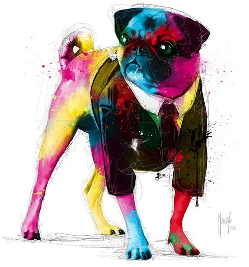 Agent Frank, colorful painting by French artist Patrice Murciano