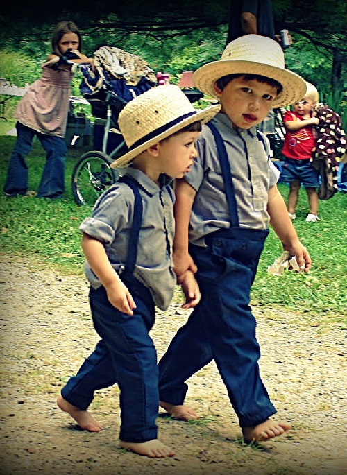 Amish boys and girls go to public schools where the students are all Amish. The teachers are non-Amish, or, as the Amish call them, English.