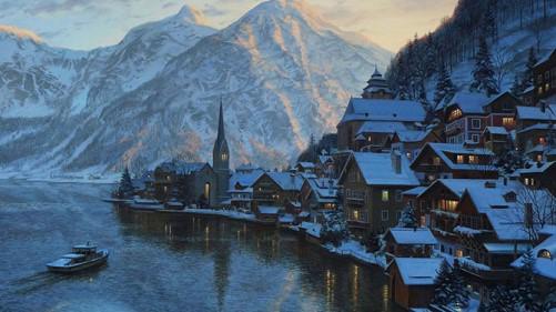 Evgeny Lushpin painting city twilights