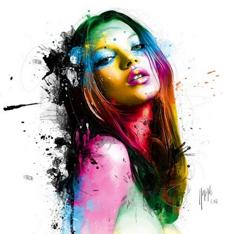 Kate Moss, painting by French artist Patrice Murciano