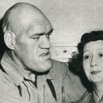 Maurice Tillet checks head sizes with Marj