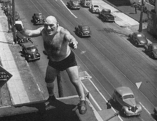Maurice Tillet - starred in his own films, 1947