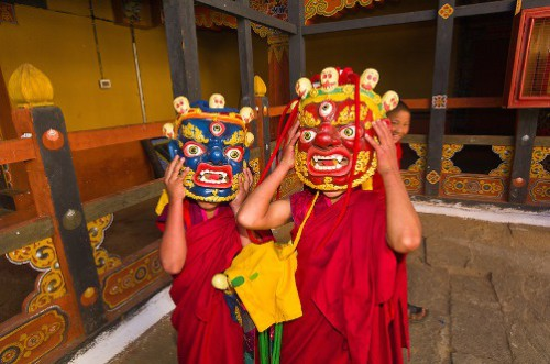 Novice monks with mask