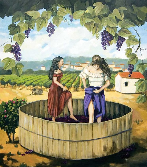 The Stomping of the Grapes mural, hand painted