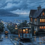 Evgeny Lushpin painting city twilights