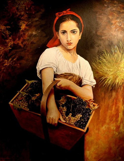 girl with grapes ramesh k nambiar