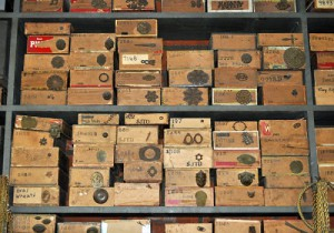 Parts for decorations are still stored in cigar boxes, as it was during the lifetime of Joseff. The numbers on the boxes indicate at what price the dealer purchased parts.
