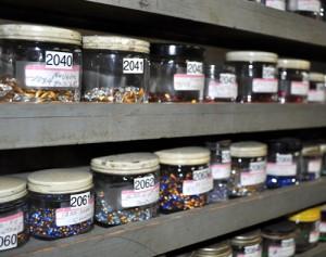 Rows of jars with Swarovski crystals