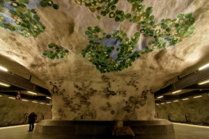 The station Nackrosen - Water Lily. The ceiling and walls of the station are designed as a pond with rocks and water lilies