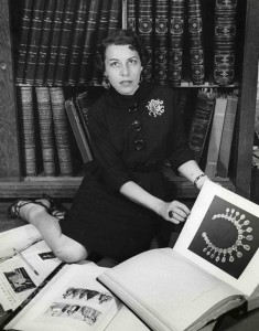 Joan in the Joseph's library in 1937, in sun brooch from Joseff. A copy of the necklace from the book had been created for Norma Shearer, 1938 film Marie Antoinette.