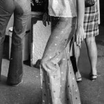 Saint-Tropez tourist in jeans with stars, 1972.
