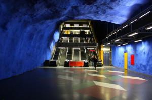 Blue walls of Stockholms tunnelbana